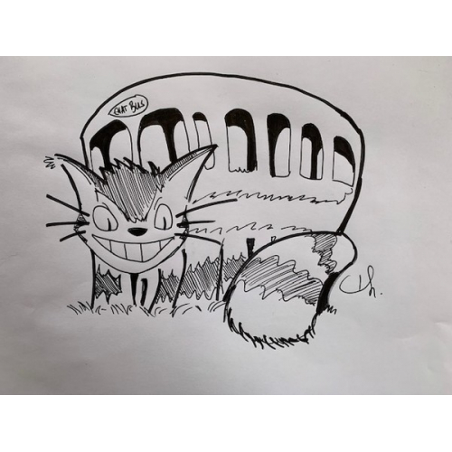 DESSIN ORIGINAL Thomas Riviere - CHAT BUS - TOTORO
