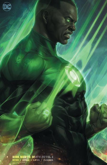 "DARK NIGHTS DEATH METAL 4 (OF 7) Green Lantern John Stewart card stock variant cover STANLEY ""ARTGERM"" LAU (VO)"