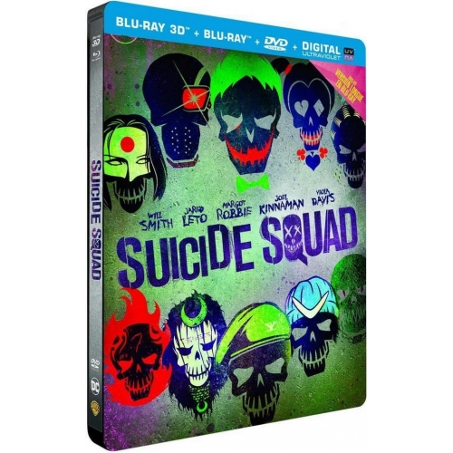 Suicide Squad ( Blu-ray 3D + 2D + 2D Extended Edition + DVD + Copie digitale UltraViolet - Boîtier SteelBook)